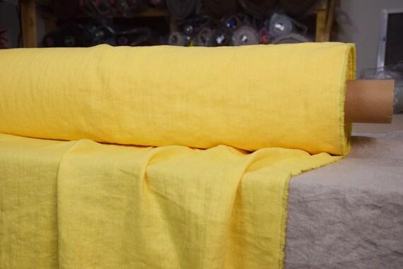 Pure 100% linen fabric Gloria Sunburst Yellow 190gsm(5.60oz/yd2). Bright, sunny, illuminating yellow. Middle weight, dense, washed-softened.