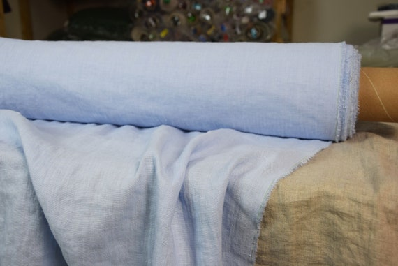 Pure 100% linen fabric Gloria Morning Sky Blue 190gsm. The azure colour of the unclouded sky. Washe-softened.