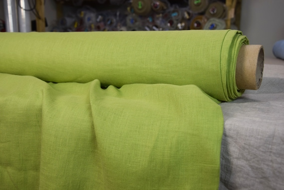 Pure 100% linen fabric Gloria Apple Green 190gsm. Middle weight, dense, washed-softened.