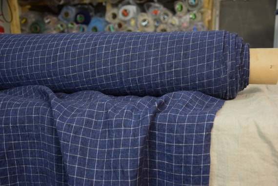 Pure 100% linen fabric Terra Navy Melange Graph Check 210gsm. Grid pattern. Dark blue color. Washed-softened.