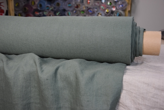 Pure 100% linen fabric Udana Celadon 340gsm (quite dark muted gray-green, color of antique chinese  pottery). Washed-softened, heavy.