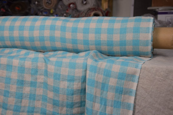 Pure 100% linen fabric Stella Turquoise Chessboard 180gsm. Checks 2cm gingham, natural undyed flax and turquoise-blue. Washed, softened.