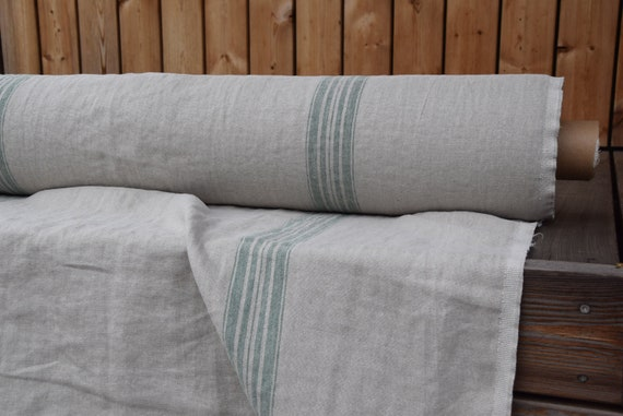 100% linen fabric Pera Natural Green Stripe 350gsm. French grain sack pattern. Washed/Pre-shrunk. Eco-friendly heavy and thick material.