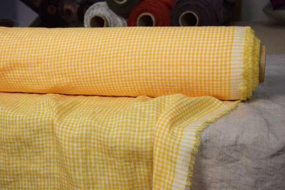 """Pure 100% linen fabric Augusta Sunny Yellow Gingham 150gsm (4.50 oz/yd2). Washed-softened. Widht 145cm (57"""")."""