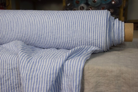 Pure 100% linen fabric Aurora Iris Blue Candy Stripe 160gsm(4.80oz/yd2). 4mm striped. Washed-softened, pre-shrunk, naturally wrinkled.