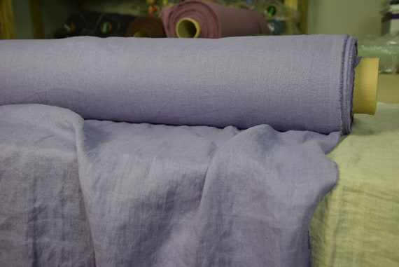 Pure 100% linen fabric Gloria Oriental Iris 190gsm. Blue-violet color. Middle weight, dense, washed-softened.