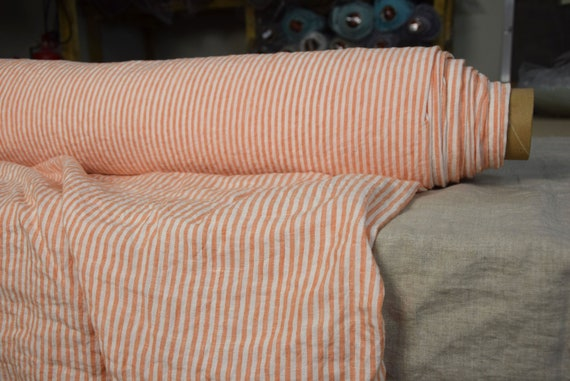 Pure 100% linen fabric Aurora Tangy Orange Candy Stripe 160gsm(4.80oz/yd2). 4mm stripes. Washed-softened, pre-shrunk, naturally wrinkled.