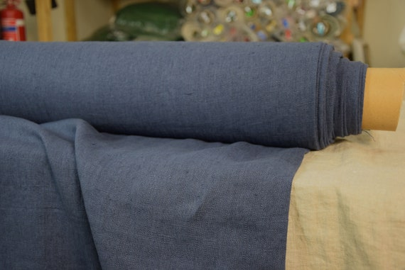 Pure 100% linen fabric Luna Old Blue Jeans 290gsm. Medium darkness blue, slightly iris/indigo. Washed/Pre-shrunk. Eco-friendly material.