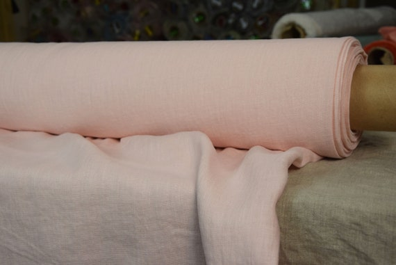 Pure 100% linen fabric Gloria Pink Blossom 190gsm. Middle weight, dense, washed-softened.