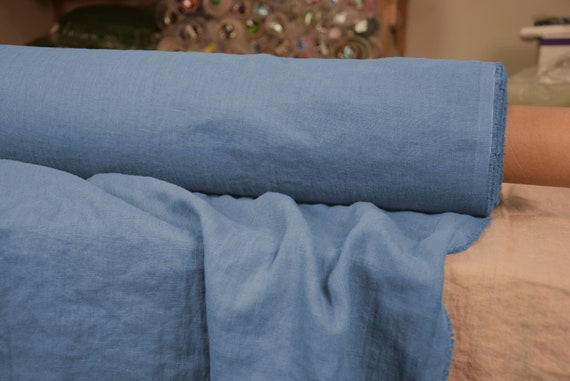 Pure 100% linen fabric Gloria Serenity Blue 190gsm. Rich relaxing bold but not too bright blue. Washe-softened.