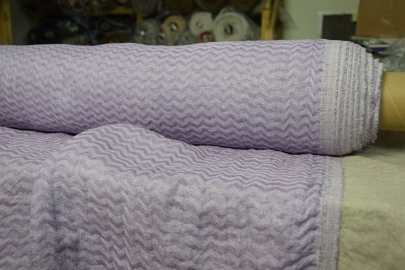 Pure 100% linen fabric Delta Foggy Violet Chevron 140gsm (4.15oz/yd2). Washed-softened. Pre-shrunk. Naturally wrinkled.
