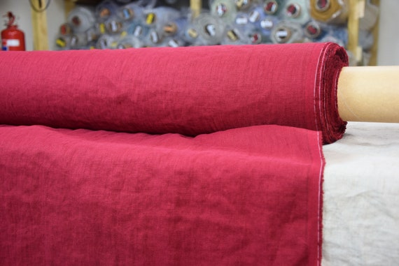 Pure linen fabric Gloria Ripe Cherry 190gsm. 100% linen. Dark cherry red. Middle weight, densely woven, washed-softened.