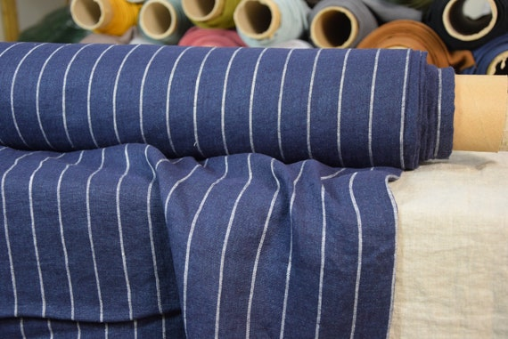 """SWATCH (sample) 12x12cm (5x5""""). Pure 100% linen fabric Iva Navy French Stripe 145gsm. Quite light weight, washed-softened."""