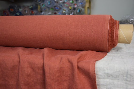 Pure 100% linen fabric Gloria Mexicana 190gsm. Special bold saturated but not too bright redish-orange-brown. Washed-softened.