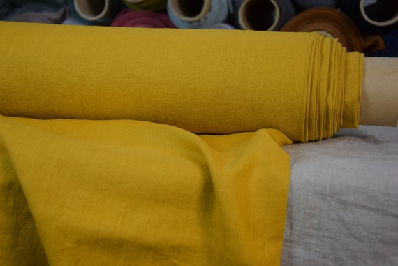 Pure 100% linen fabric Astra Golden Yellow 170gsm. Middle weight, densely woven, washed-softened.
