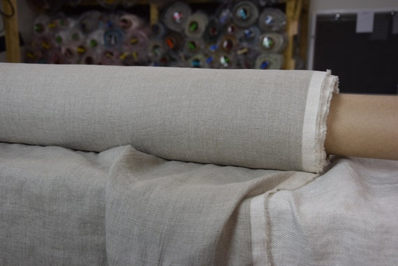 Thin pure 100% linen fabric Aura Natural 125gsm. Not dyed flax, gray with brownish undertone, color from nature. Washed, softened, dense.