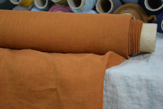 """Pure 100% linen fabric Gloria Bronze 190gsm. Rich brown-yellow color. Washe-softened. The last piece 1.40mx1.45m=55""""x57""""!"""