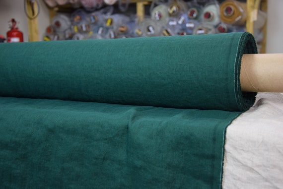"Pure 100% linen fabric Gloria Rich Green 190gsm. Dark saturated green color. Washed-softened.  The last piece 1.10mx1.45m=43""x57""!"