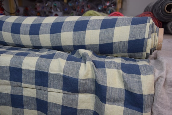 Pure 100% linen fabric Margarita Chessboard Check Blue/Beige 190gsm. Blue and light beige 4.50cm checks. Washed-softened.