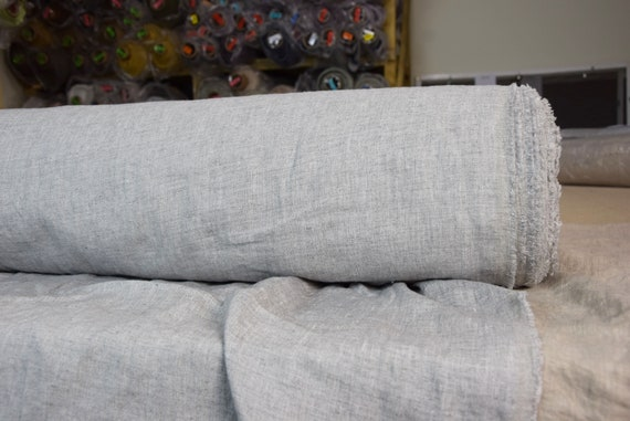 Pure 100% linen fabric Margarita Silver 190gsm. Melange made from white and gray. Washed-softened.
