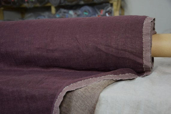 Linen/wool fabric (78/22%) Lana Autumn Purple 250gsm.  2-sided, warm. Washed-softened.