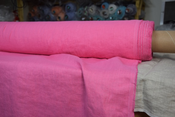 100% linen fabric Gloria Exotic Pink 190gsm (5.60oz/yd2). Bright, extraordinary,  juicy, illuminating color. Washed-softened. Pre-shrunk.