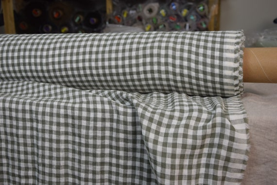 Pure 100% linen fabric Aura Artichoke Green Gingham 125gsm. 8mm checks. Light weight and thin, densely woven, washed-softened, pre-shrunk.