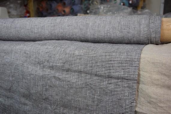 "Pure 100% linen fabric Regina Stone Gray Pencil Stripes 130gsm (3.85oz/yd2).  Washed-softened, pre-shrunk. Last piece 1.00x1.45m =39""x57""!"