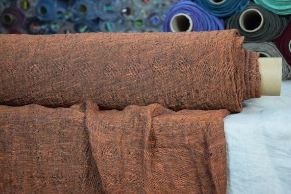 Linen fabric Pura Blackened Orange Melange. Thin semi-sheer gauze. 100% linen 110gsm. Open weave (loosely woven). Washed-softened.