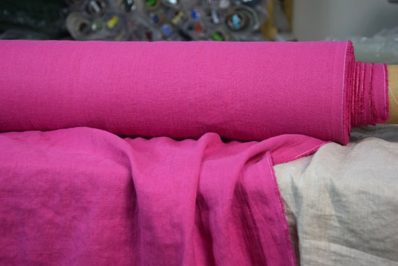 Pure 100% linen fabric Gloria Barbie Pink 190gsm. Deep and bright shade of magenta-pink.  Washe-softened.