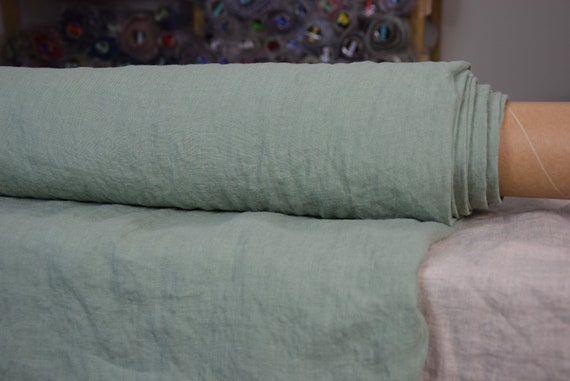 Pure 100% linen fabric Gloria Raw Nephrite Green 190gsm. Muted greenish with little hue of gray. Washed-softened.