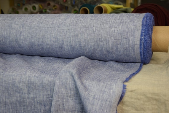 Pure 100% linen fabric Aura Iris Chambray 125gsm. Thin opaque melange woven from white and iris-blue yarn. Washed-softened, densely woven.