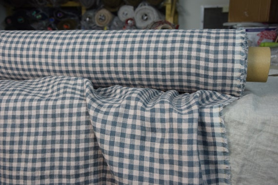 100% linen fabric Gloria Blue/Gray/Rose Gingham 195gsm. Vichy 8mm pattern. Muted colors. Washed/softened/pre-shrunk.