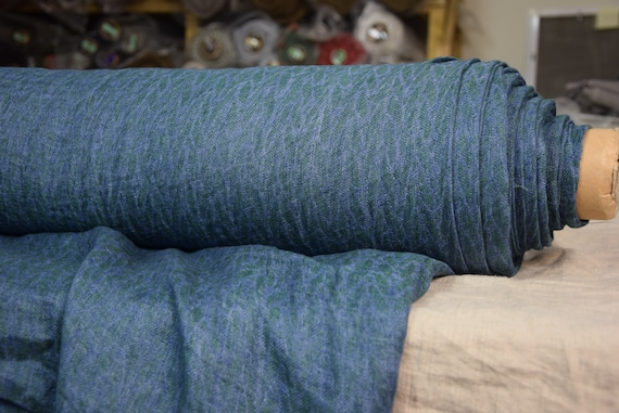 Pure 100% linen fabric Delta Blue/Green Small Pattern 140gsm (4.15oz/yd2). Washed-softened. Pre-shrunk. Naturally wrinkled.