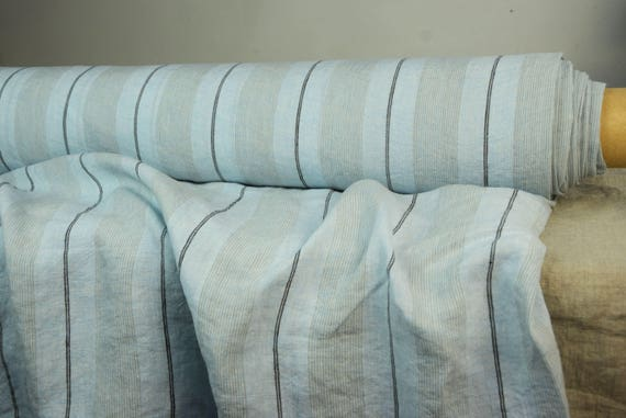 """Pure 100% linen fabric Aurora Shadow Stripes Blue 160gsm. Light blue-gray-black. Washed-softened. The last piece 1.40m x 1.45m (55x57"""")!"""