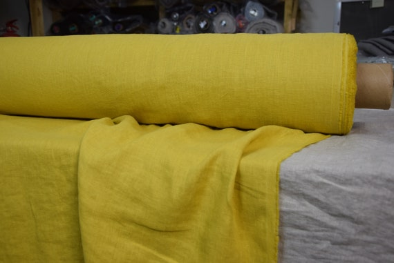 Pure 100% linen fabric Gloria Delicious Yellow 190gsm(5.60oz/yd2). Middle weight, densely woven, washed-softened.