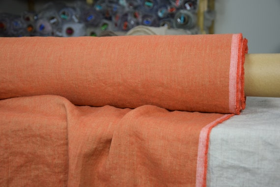 Pure 100% linen fabric Margarita Orange Parrot. 190gsm. Melange made from orange and pale gray. Washed-softened.