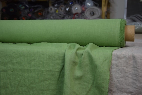 Pure 100% linen fabric Gloria Grenada Green 190gsm(5.60oz/yd2). Middle weight, densely woven, washed-softened.