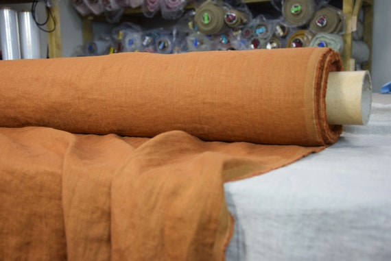 Pure 100% linen fabric Gloria Aged Copper 190gsm. Rustic brown yellow-mustard-copper hint. Washe-softened.