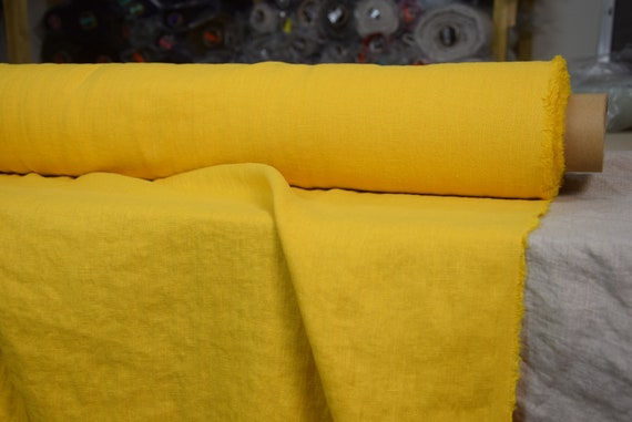 Pure 100% linen fabric Gloria Imperial Yellow 190gsm(5.60oz/yd2). Middle weight, densely woven, washed-softened.