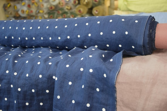 Pure 100% linen fabric Gloria Nebulas Blue 190gsm. Polka dot, white on blue background. Medium weight, washed-softened, densely woven.