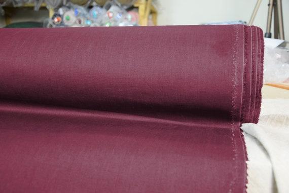 Pure 100% linen fabric Gloria Water-Pro Burgundy 245gsm. Water&mud repellent, waterproof, water-resistant, waxed burgundy linen fabric.