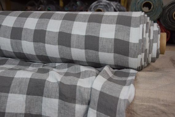 Pure 100% linen fabric Margarita Chessboard Check Mushroom Gray 190gsm. Dark brownish-gray and light gray 4.50cm checks. Washed-softened.