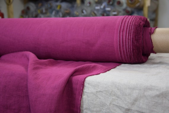 Pure 100% linen fabric Gloria Crimson Red 190gsm. Washed-softened.