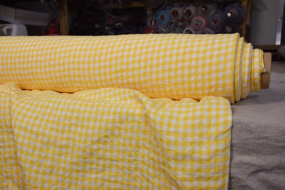 Pure 100% linen fabric Letta Yellow Gingham 210gsm (6.20 oz/yd2). 8mm vichy checks, yellow and white. Washed-softened, naturally wrinkled.