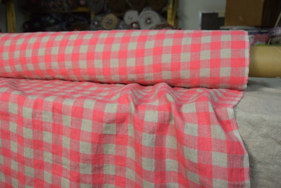 Pure 100% linen fabric Stella Bright Pink Chessboard 180gsm. Checks 2cm gingham, natural undyed flax and vibrant rose. Washed, softened.
