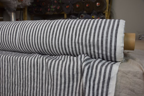 Pure 100% linen fabric Aura Bengal Stripes Black White 125gsm. Stripes are 8mm. Thin, washed-softened.