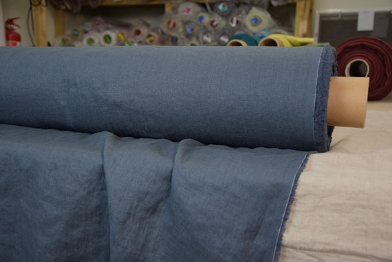 Pure 100% linen fabric Gloria Blue Graphite 190gsm. Dark blue-gray color. Middle weight, densely woven, washed-softened.