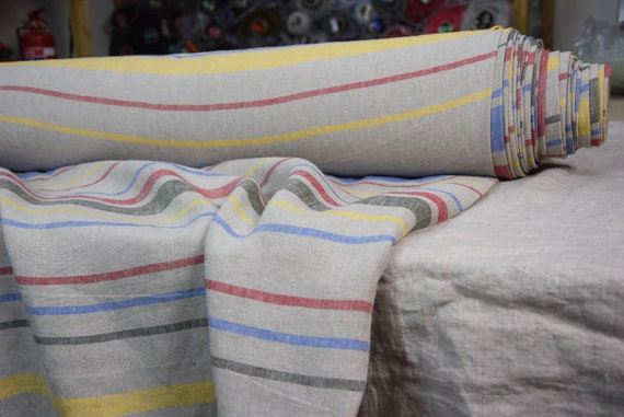 Pure 100% linen fabric Pola Rainbow Stripe 200gsm (5.90 oz/yd2). Washed-softened. Pre-shrunk. Naturally wrinkled. Multicolor barcode stripes