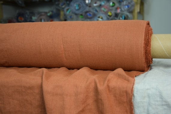 Pure 100% linen fabric Gloria Burnt Caramel 190gsm. Deep and bold but not too bright tawny-brown color with a orange tinge. Washed-softened.